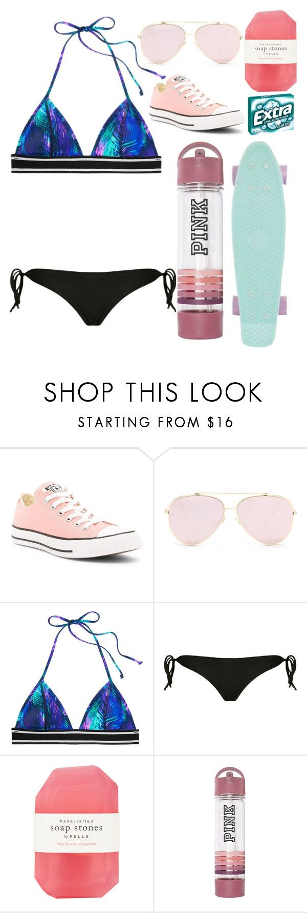 """penny boarding"" by lydiaann05 ❤ liked on Polyvore featuring Converse, Victoria's Secret, Skinbiquini and Pelle"