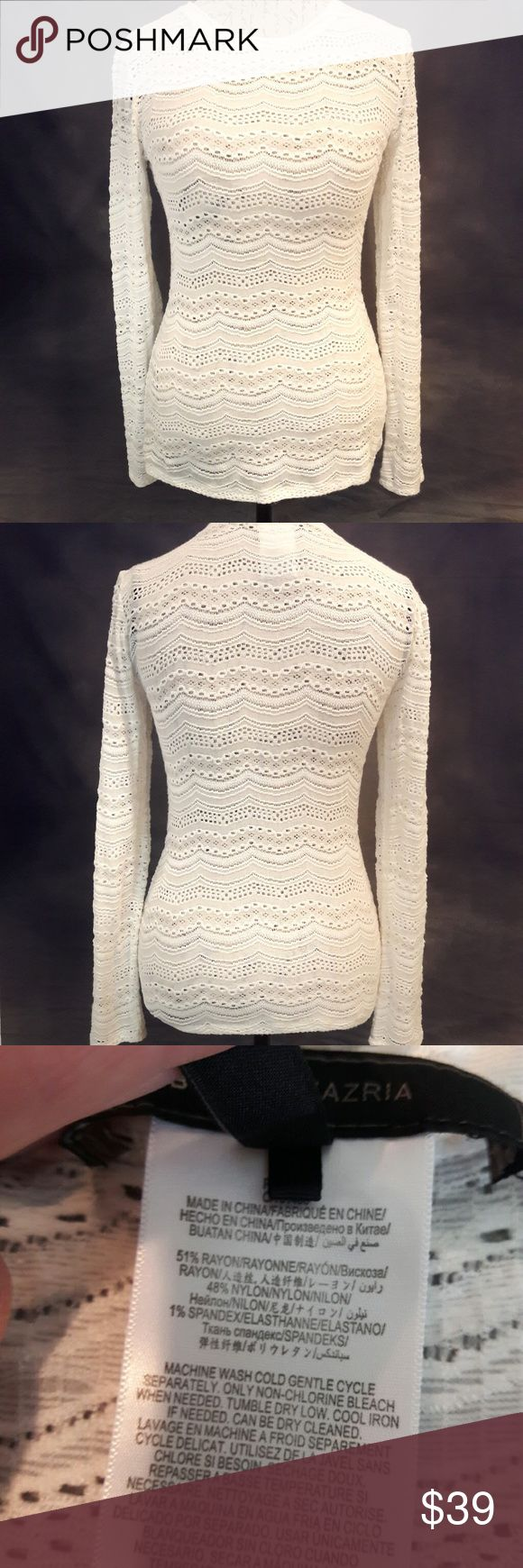 *SALE* BCBGMaxAzria eyelet long sleeve shirt In perfect condition. Like new! Very lovely see through eyelet long sleeve shirt. White in color. Measurements provided in pics above. True to size. From a smoke and pet free home. Fast shipping! Bundle and save. BCBGMaxAzria Tops