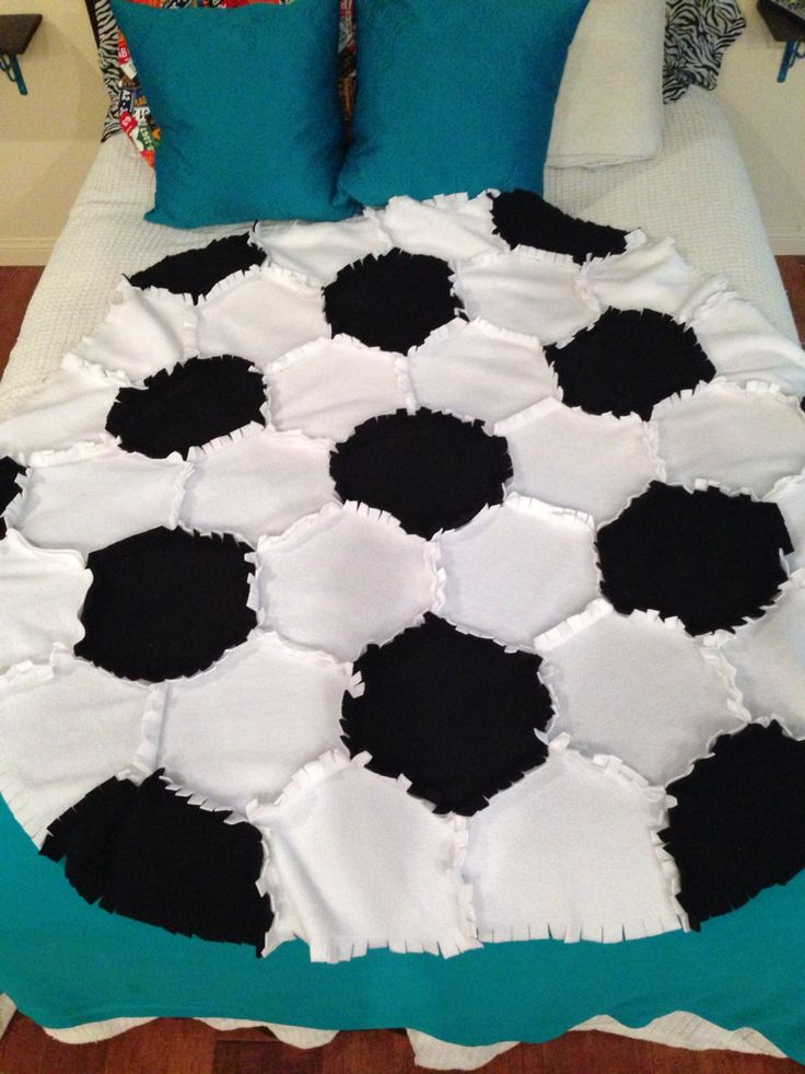 Fleece Soccer Ball  Rag Quilt/Blanket Throw by PatchworkLuxury, $29.95