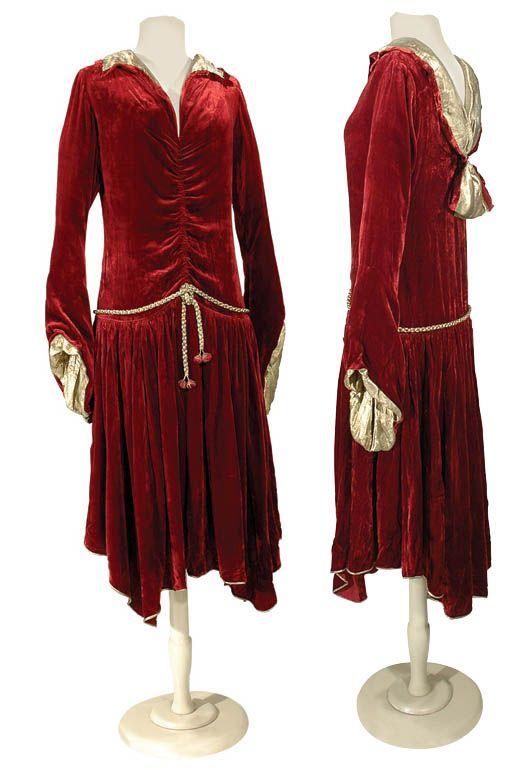 Paul Poiret Garnet Silk Velvet Robe Shakespeare  French, mid 1920s   labeled: Paul Poiret a Paris and linen tape: