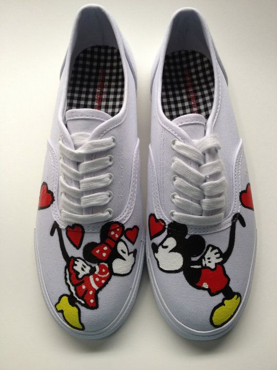 VANS VERSION Hand Painted Mickey Mouse Minnie Mouse & Disney Inspired Shoes Womens Canvas Custom Keds Vans Any Size 5-14 on Etsy, $149.50