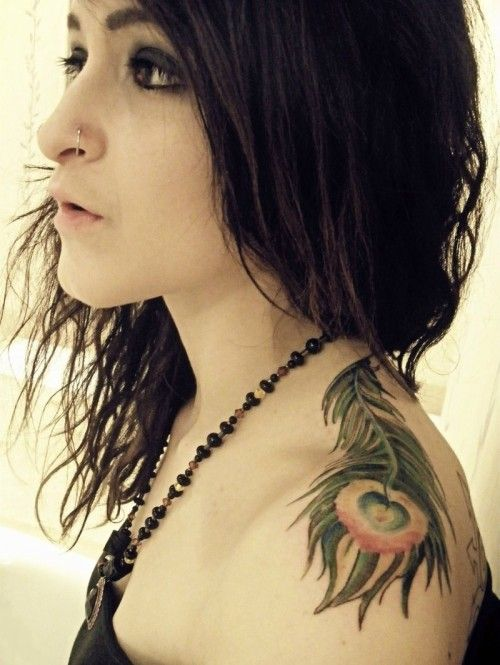 Feather Tattoos For Girls | 24. Shoulder Peacock Feather Tattoo for Girls