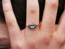 Blautopas Engagement Ring in 14K Rotgold