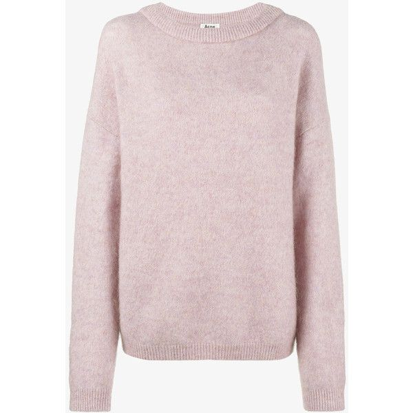 Acne Studios Dramatic long sleeve jumper ($340) ❤ liked on Polyvore featuring tops, sweaters, polka dot top, long sleeve jumper, pink polka dot sweater, long sleeve sweater and pink top