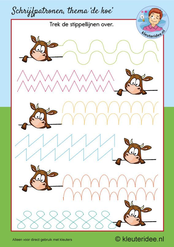 Schrijfpatroon koe, kleuteridee, kleuters, writing pattern cow theme Kindergarten.