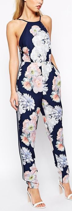 Womens Floral Jumpsuit