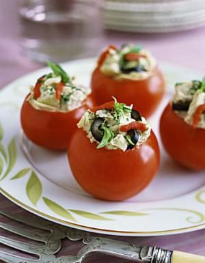 These easy little stuffed tomatoes make a nice snack or appetizer for a spring or summer event.
