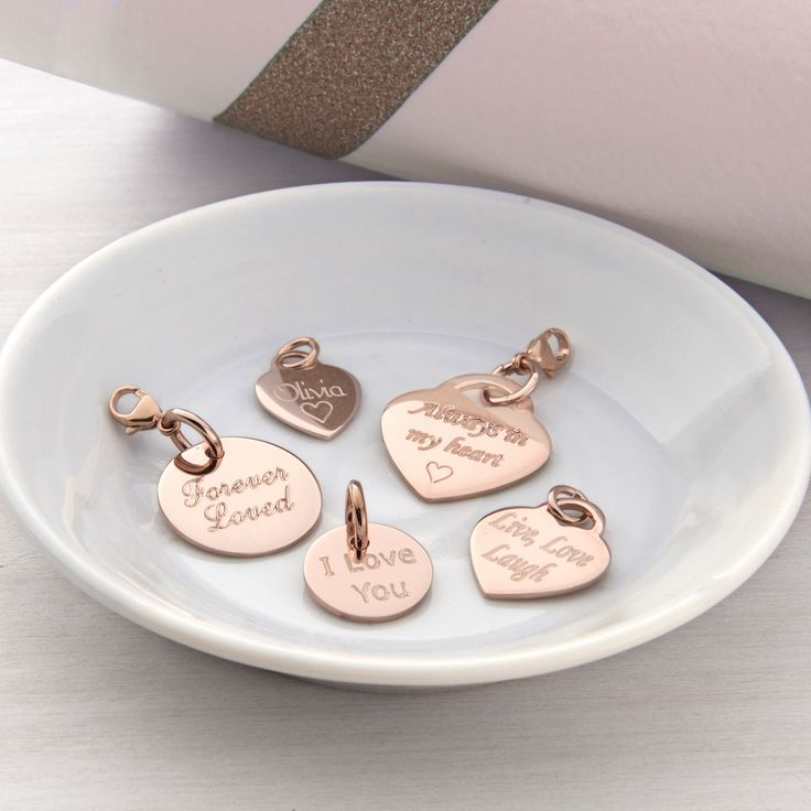 PERSONALISED ROSE GOLD HEART AND DISC CHARMS
