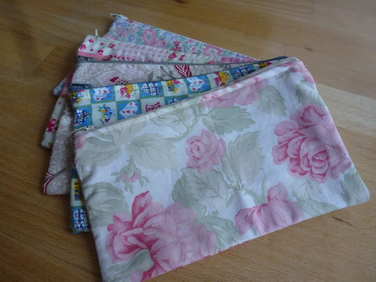 Maddie whizzed up these cosmetic purses on the sewing machine - she is much better at putting in zips than I am !