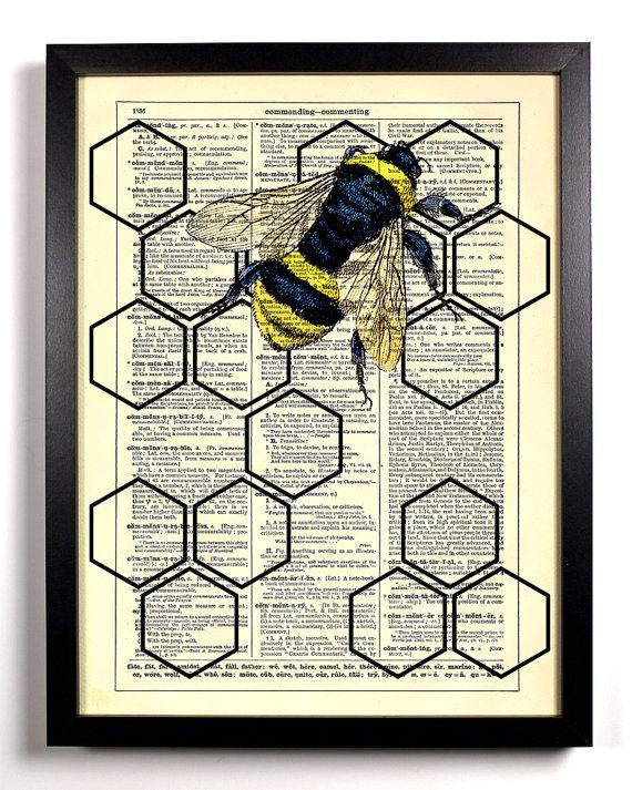 Geometric Honeycomb With Honey Bee, Home, Kitchen, Nursery ...