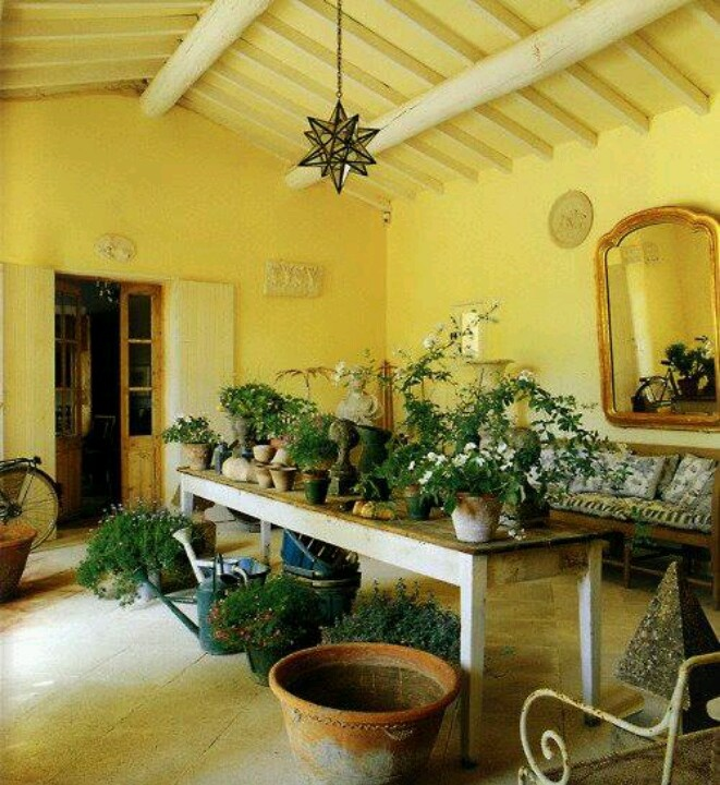 Yellow Sitting Room ideas - love the green plants with the yellow!