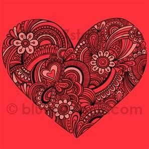 Hand Drawn Henna Paisley Heart Tattoo Doodle Seamless Repeat Pattern ...