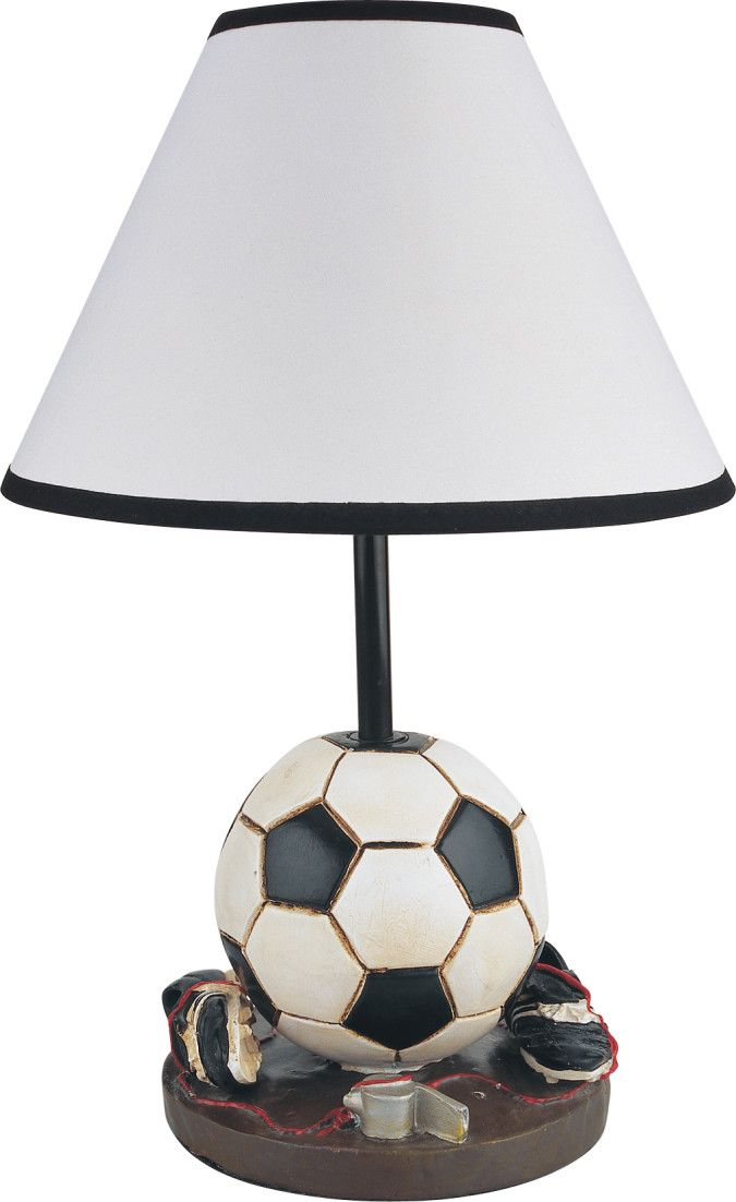 "Features:  -California Title 20 compliant energy efficient.  -Soccer themed lamp for the sports enthusiast.  -Accommodates 1 x 60W standard bulb (not included).  -Antique finish resin lamp.  -64"" Cord"