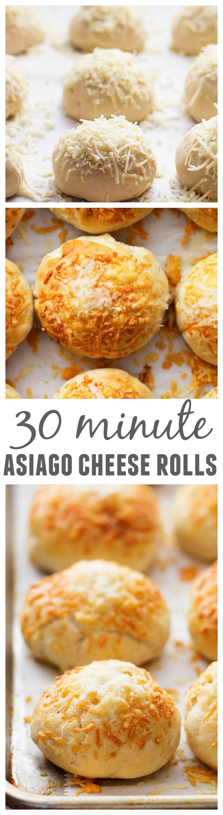 These rolls are made with quick and easy dough and are ready in 30 minutes! With delicious Asiago Cheese on top of these soft and perfect rolls, they are sure to be a hit!