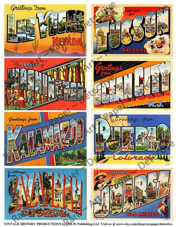 Vintage Travel Postcards  Digital Sheet Antique Post Cards