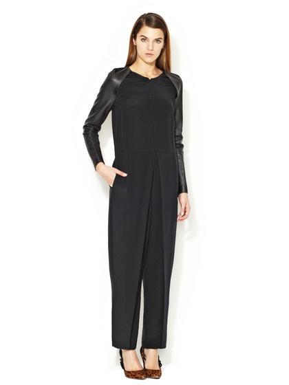 Leather Sleeve Silk Jumpsuit by 3.1 Phillip Lim Brand on Gilt.com
