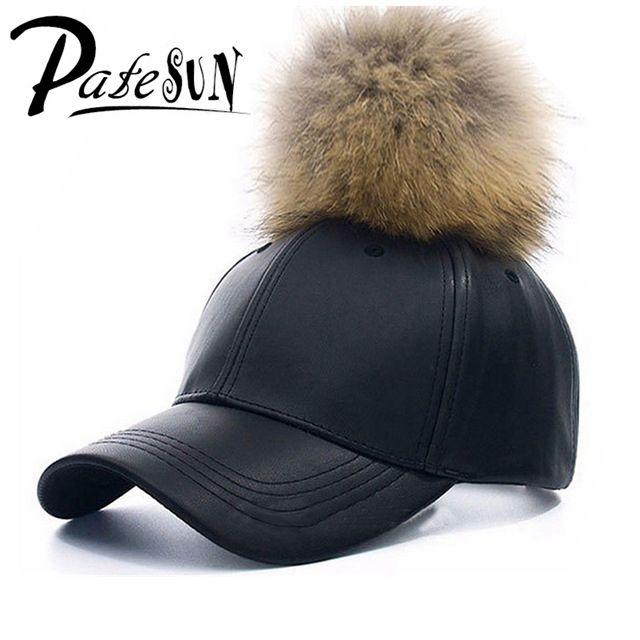 High Quality Brand Snapback PU Leather Baseball Caps Fishing Female Winter Fur Hats hip hop berretto pom pom vrouwen pet