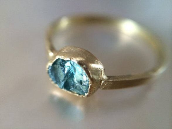 Raw blue engagement ring | by Melissa Tyson Designs | http://emmalinebride.com/engagement/blue-engagement-rings/