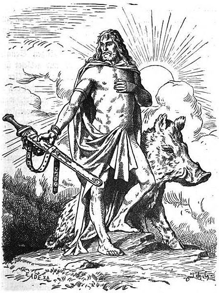 Freyr is associated with farming and weather and is portrayed as a phallic fertility god