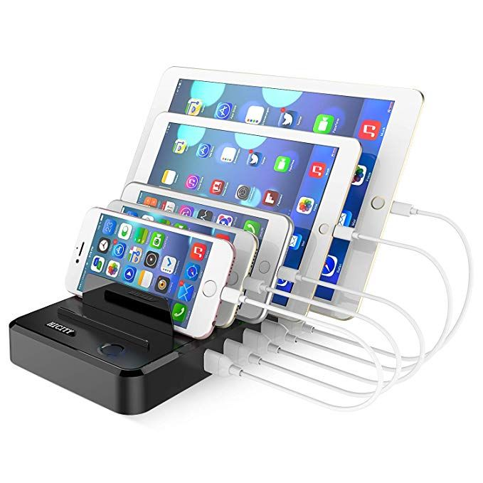 Cell Phone Charging Station Dock For Multiple Devices 40w 8a 5 Port Usb Charging Organizer Hicity Fast Charging Docking Station For Cell Phones And Tablets