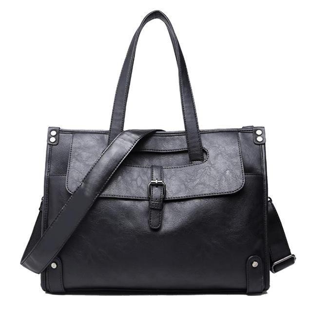 ETONWEAG Brands Messenger Bag Men Leather Laptop Bag Black Zipper Briefcases Big Capacity Business Briefcase Mens Office Bags