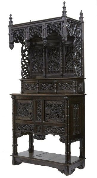 "AN IMPORTANT PROFUSELY CARVED GOTHIC REVIVAL WALNUT DRESSOIR BUFFET Ca 1850 France. 107""H x 49.75""W x 22.25""D."
