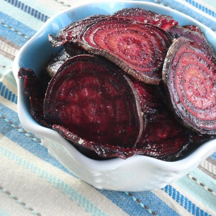 "Crispy oven baked beet chips ""My only complaint with these beet chips are once I put the finished ones on a rack for cooling and stick another batch in the oven, my finished ones ARE GONE! These are outstanding. We are lovin' all the different spices we're trying out on them. As I type I have brown sugar and course salt ones baking. A little sweet, a little salty. Love it."""
