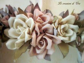 ancora rose   ma con una nuova tecnica ... kanzashi         rose realizzate con stoffa in raso   avanzi di quando cucivo abiti con la m...