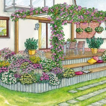 Gestaltungsvorschlag Terrasse mit Pergola