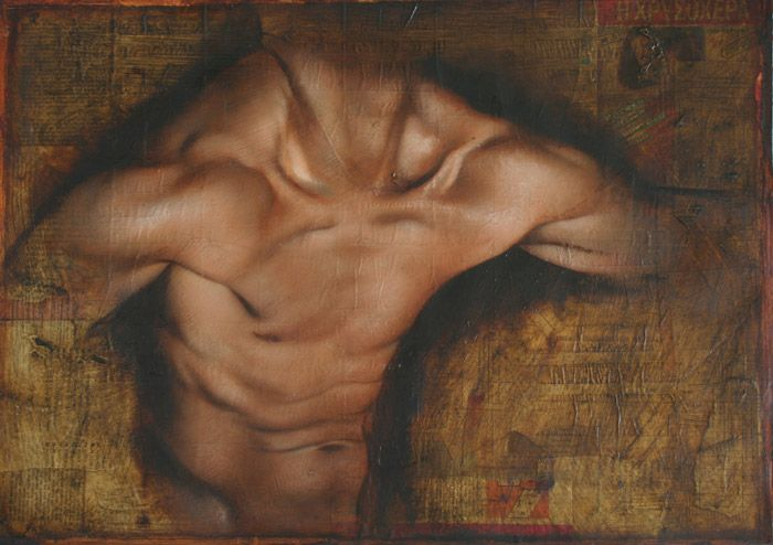 """Shoulder study (o ilios)"" - Tomas Watson, 2012; Greece, oil on paper with collaged magazine covers from 1950s {male human torso vignette painting} Flex !!"