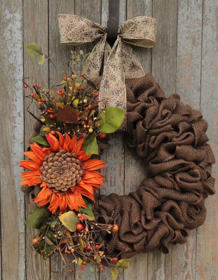 Fall Burlap Wreath, Sunflower Burlap Wreath, Autumn Burlap Wreath, Fall Sunflower Wreath, Brown Burlap Fall Wreath, Rustic Fall Wreath by WhimsyChicDesigns on Etsy https://www.etsy.com/ca/listing/472173509/fall-burlap-wreath-sunflower-burlap