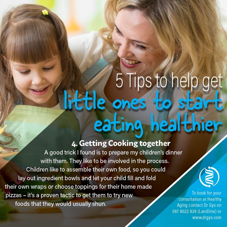 5 tips to help get little ones to start eating #healthier 4. Getting Cooking together A good trick I found is to prepare my children's dinner with them. They like to be involved in the process. Children like to assemble their own food, so you could lay out ingredient bowls and let your child fill and fold their own wraps or choose toppings for their home made pizzas – it's a proven tactic to get them to try new foods that they would usually shun. For more information or bookings contact…