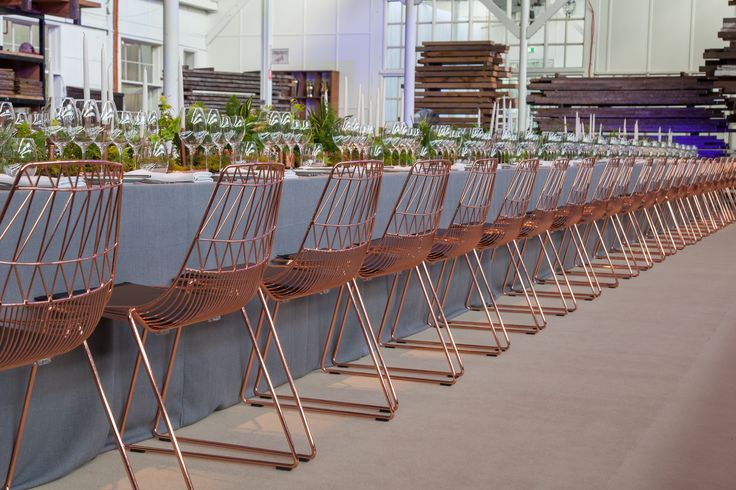 copper, wire chairs, Arrowe chairs, table setting, event styling, long table event, event hire, gold coast