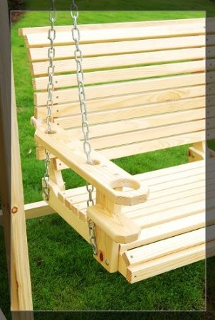 Outsunny 5-foot Wood Handmade Porch Swing with Hang Chain: Patio, Lawn & Garden