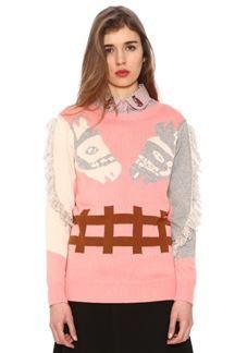 Jersey de punto rosa con estampado de caballos
