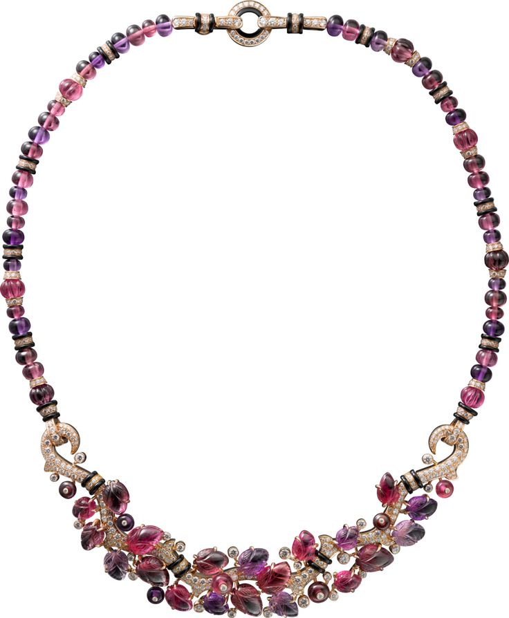 CARTIER. Necklace with engraved stones, 18K pink gold, set with rubellites, amethysts, garnets, onyx and 522 brilliant-cut diamonds totaling 3.84 carats. (P.R.P. $241,000) #Cartier #CartierMagicien #HauteJoaillerie #FineJewelry #Diamond #Rubellite #Amethyst #Garnet #EngravedStones
