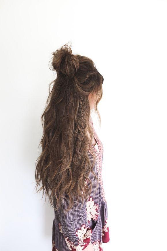 beautiful, beauty, braid, brown hair, bun, fashion, hair, hairstyle, long hair, style, wavy hair, hair goal