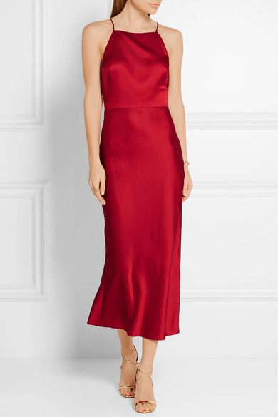 Claret crepe de chine Concealed hook and zip fastening at back 70% acetate, 30% viscose Dry clean Designer color: Ruby Red