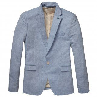 Scotch and Soda Cotton/Linen Blend Summer Blazer in Blue. 14010330006