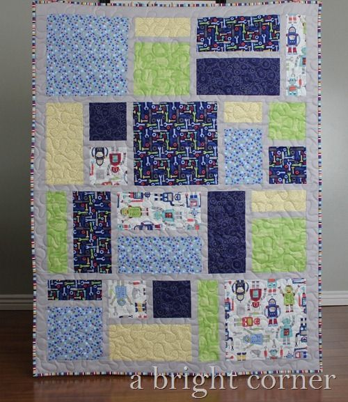 Crib size quilt made from Jack's Blocks quilt pattern from A Bright Corner