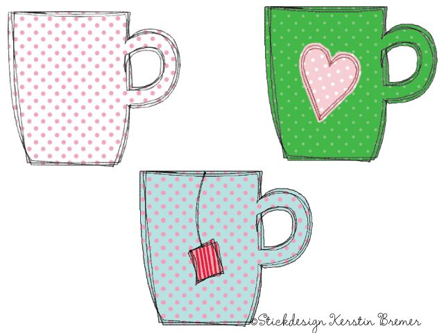 Tassen Doodle Stickdateien Set. Doodle cup appliqué embroidery designs for embroidery machines.