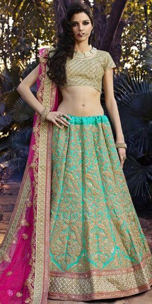 Marvelous Blue And Pink Silk Designer Lehenga Choli With Dupatta.