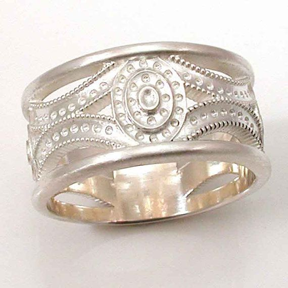 Mens Silver Ring  Art Deco  Brushed  by SwankMetalsmithing on Etsy, $245.00