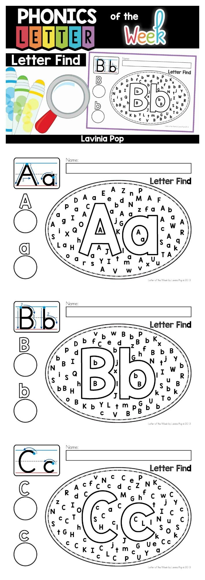 Alphabet Letter Find: Uppercase and Lower Case Letter identification activity. Use with bingo daubers, highlighters, markers, etc. Laminate or place inside plastic sleeve to use over and over with erasable markers.
