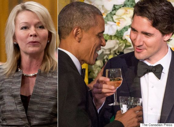 """And here's Candice Bergen, Conservative MP and natural resources critic, offering her take on the state visit that the prime minister, select cabinet ministers, lobbyists, and Liberal donors were """"partying it up"""" in Washington, D.C. in the midst of job crisis in Western Canada. While she and her fellow Reformacons spent almost 10 yrs ignoring almost every issue concerning Canadians unless it had to do with oil. Wow. They cannot stop - hardwired to complain constantly."""