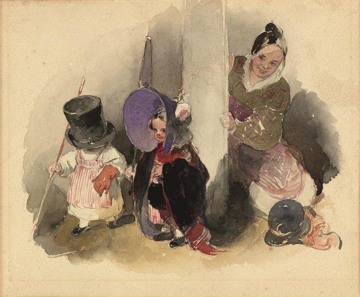 Peter Fendi, Mutter mit spielenden Kindern (der kleine Gerngross), um 1893, Aquarell © Wien Museum