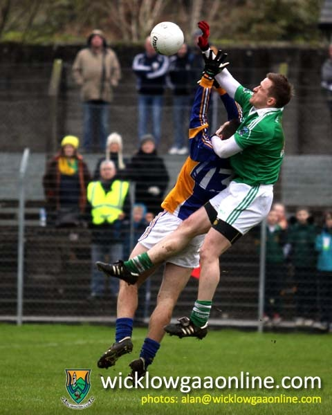 John McGrath challenges for a late high ball as Wicklow go in search of a goal.