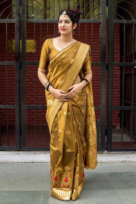a49ddfca901f4  Banarasi  Sarees 2018 - Exquisite Banarasi Silk Designer Saree in  Mustard  With Matching