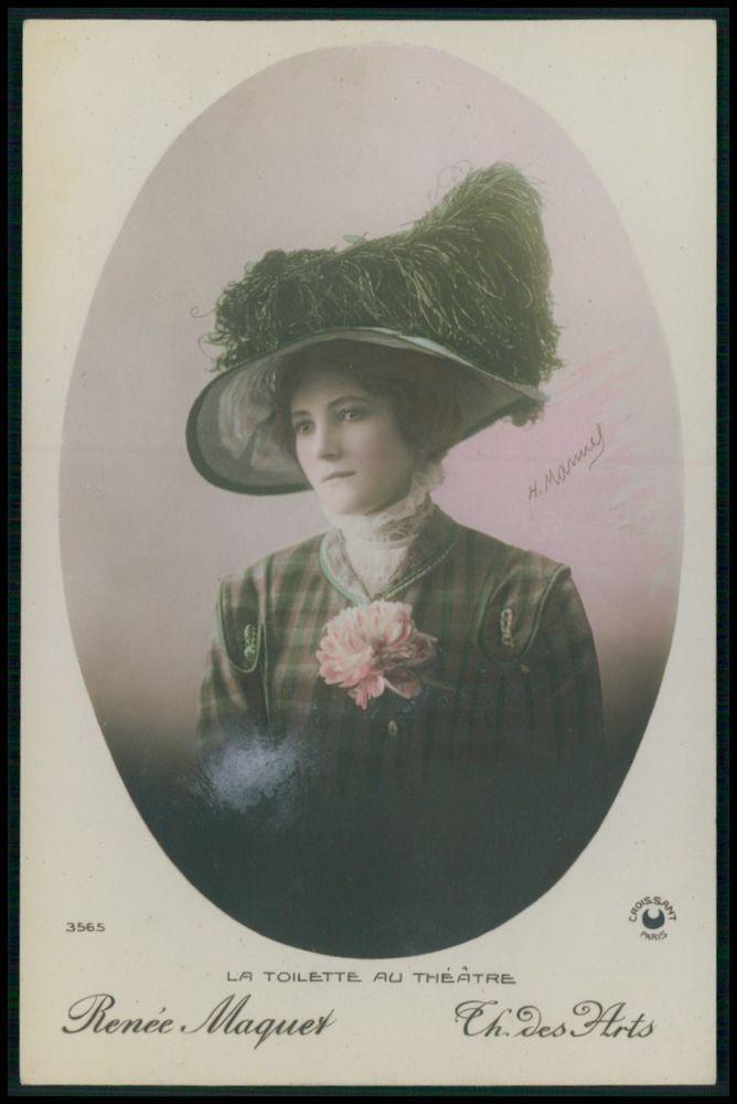 Renee Maquet Lady des Artes Edwardian Theatre Fashion dress 1910s photo postcard