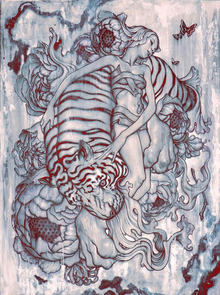 "Tiger III. Acrylic and Charcoal on Paper with Digital Color, 22 x 30"", 2014 by James Jean"